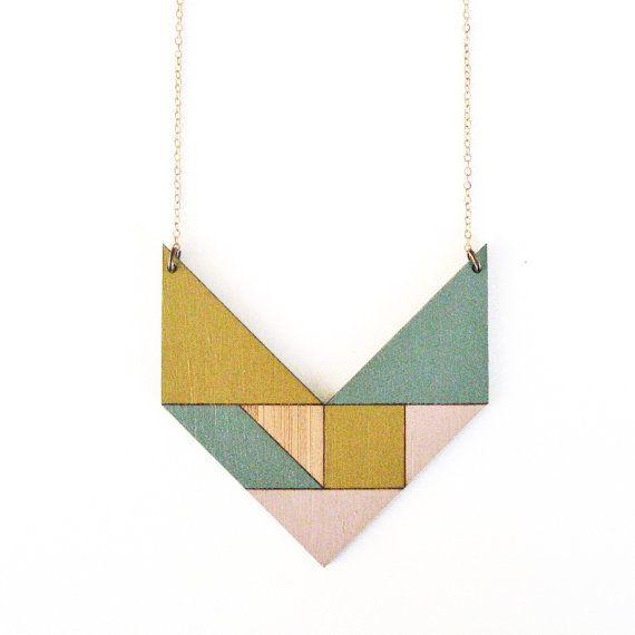 Tangram necklace / V / pastel pink yellow & blue by abirdofplay