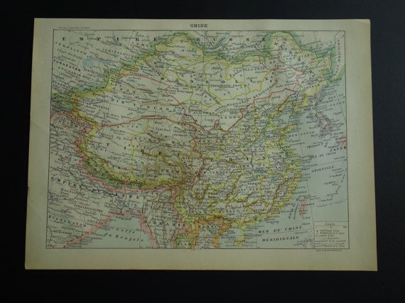 CHINA old map of China  original 1902 antique by DecorativePrints