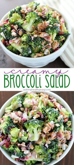 Creamy Broccoli Salad ~ full of fresh broccoli, red onion, dried cranberries, sunflower seeds and bacon mixed in a creamy, delicious dressing | yummyhealthyeasy.com
