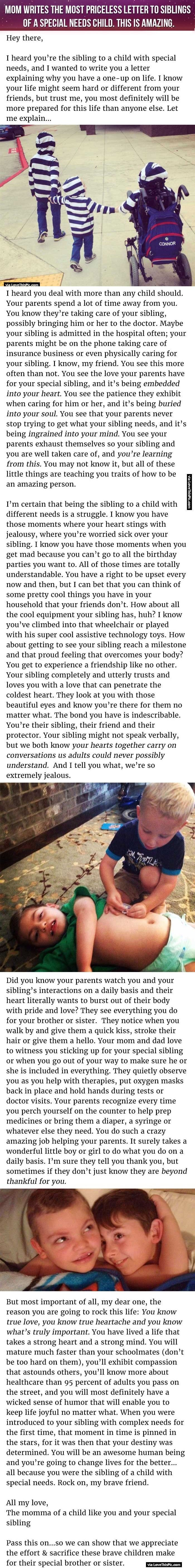 Mom Writes The Most Priceless Letter To Siblings Of A Special Needs Child. This Is Amazing.