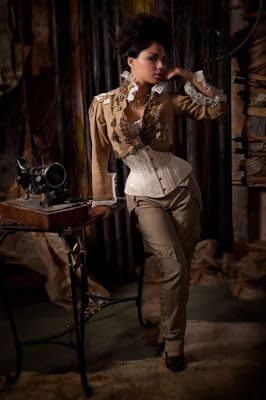From the Steampunk Fashion Guide's Guide to Corsets - Longline corsets: Casual Steampunk Girl in Pants