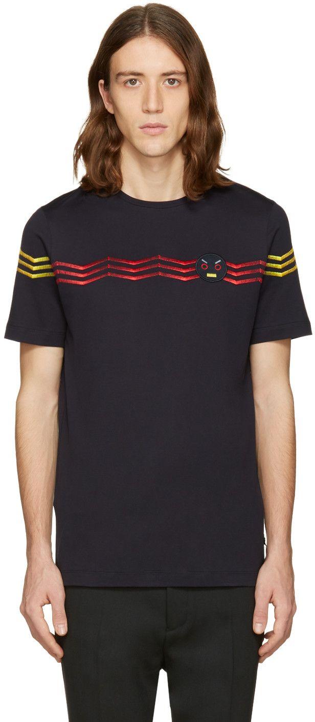 Fendi - Navy Zig Zag T-Shirt