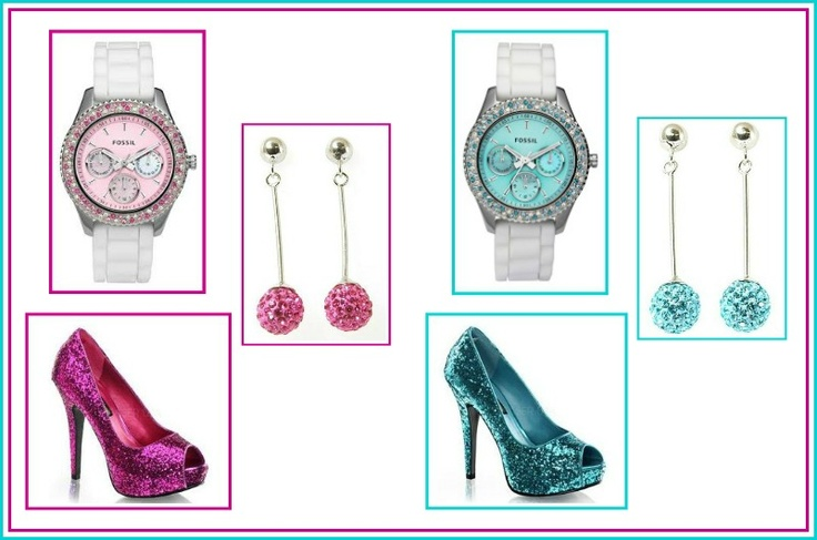 White and Tiffany Blue crystals watches, White and Fuchsia crystal, matching earrings and shoes: Crystals Watches, Tiffany Blue, Blue Crystals, Matching Earrings