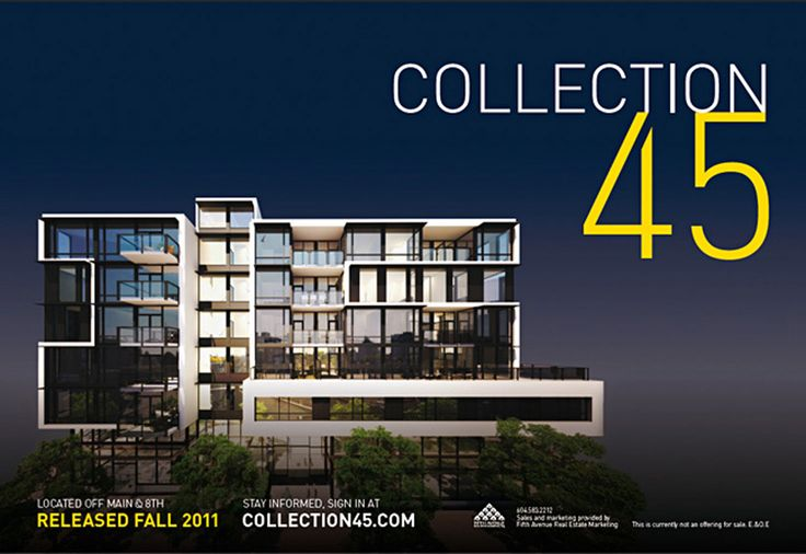 Collection 45 by MYIE #design #graphicdesign #brand #brandidentity #realestate #salescentre #environment #signage #graphics #typography