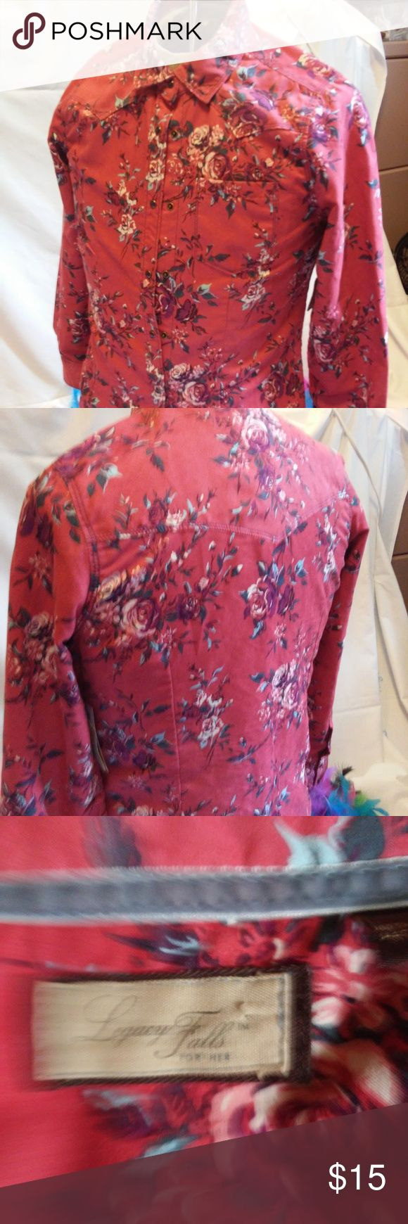 Legacy Falls for Her-Deep Rust with Rose - Size S New w/Tags - Western Style long sleeve shirt with glass snaps and rose design.  No stains or rips  Bust - 20 Shoulders - 15 Length - 27 Sleeve - 25  Dress up some jeans and cowboy boots Thanks for shopping Legacy Falls for Her Tops Button Down Shirts