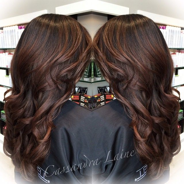Soft hand-painted mahogany highlights on a deep brunette base, perfect for fall!! #platinumsalontampa #paulmitchell
