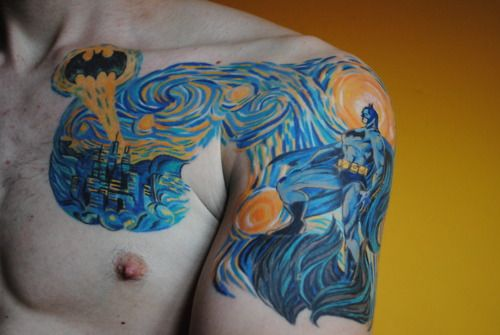 Great Batman / Vincent van Gogh mashup. |Starry Night over Gotham City