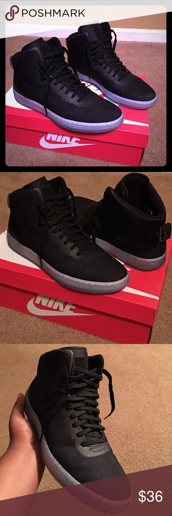 Nike pro stepper Only worn 2 times! All black Nike shoes with icy blue bottoms!!  very nice, like new Nike Shoes Sneakers