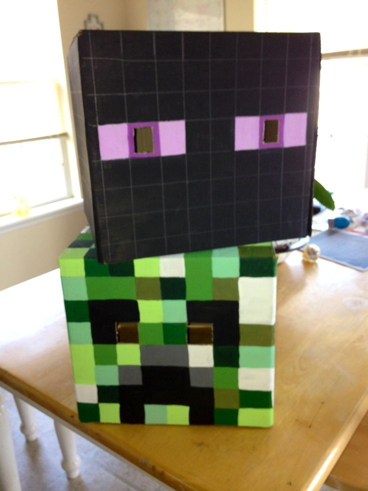 diy minecraft bedroom   DIY Minecraft heads. .69 cent boxes from Walmart, a ruler, and paint.