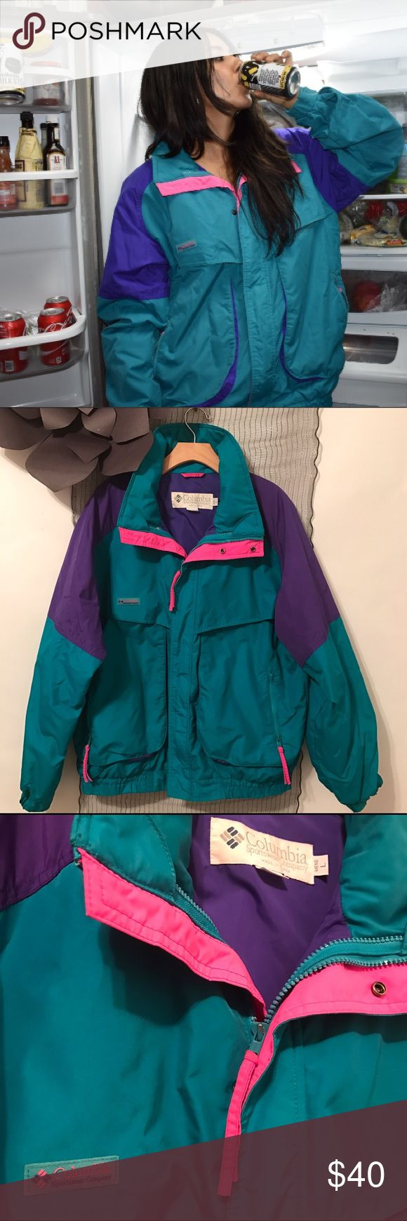Columbia multicolored sportswear jacket Crack open a cold one with the boys in this  beauty.Rare 1980's multicolored Columbia Powder Keg jacket. One of the most trusted brands in outdoor gear and apparel, Columbia's been A1since day one. I love the colorful look and this jacket is in GREAT condition just a little teal missing on the zipper (3rd pic)! In a men's large but totally unisexy. Columbia Jackets & Coats Ski & Snowboard