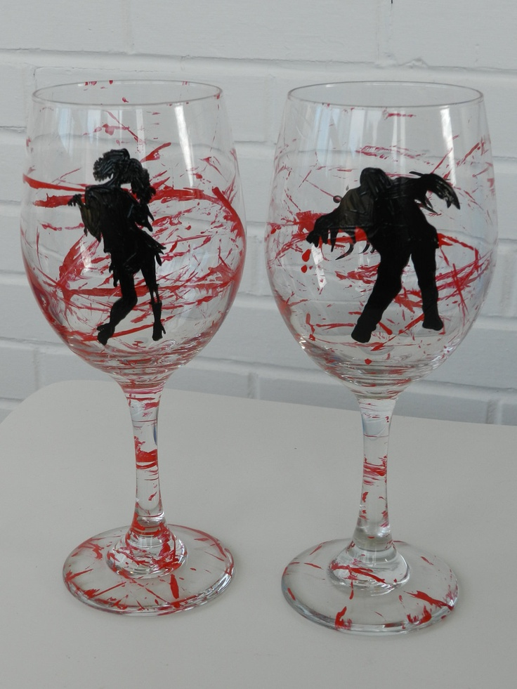 Zombie Wine Glass Girl  Hand Painted Wine by BellaVetrobySamantha, $22.00