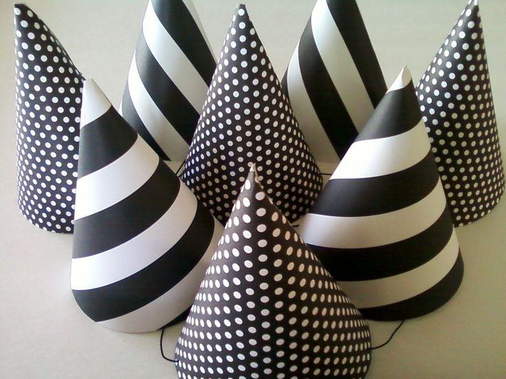 BLACK & WHITE Party Hats (Set of 6) --  Polka Dot and Stripes. $12.00, via Etsy.