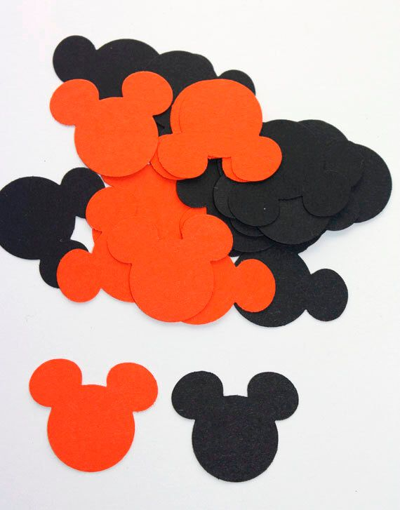 100 Black & Orange Halloween Mickey Mouse Confetti, Die Cuts, Mickey Mouse Halloween, Party, Supplies, Fall Confetti, Mickey Mouse by SammysCraftShop on Etsy https://www.etsy.com/listing/164366742/100-black-orange-halloween-mickey-mouse