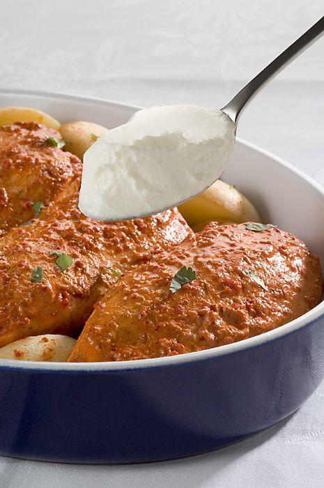 Tandoori Chicken With Spiced Potatoes - recipe courtesy of Jalna
