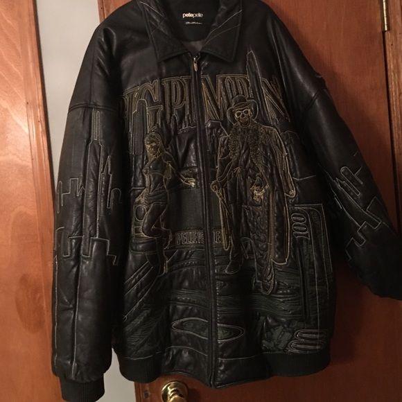 Black leather pelle pelle jacket Black leather Pelle Pelle Big Pimpin jacket. Jacket has a tear located on the left shoulder. Pelle Pelle Jackets & Coats