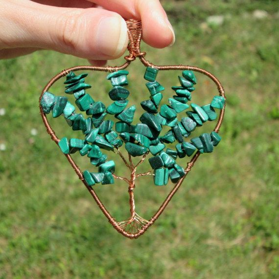 malachite heart tree of life pendant fashion style boho vintage gift for her hippie by FloralFantasyDreams
