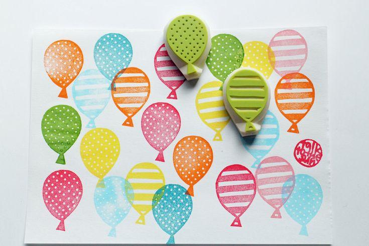 partij ballon stempel set. hand gesneden stempels. door talktothesun