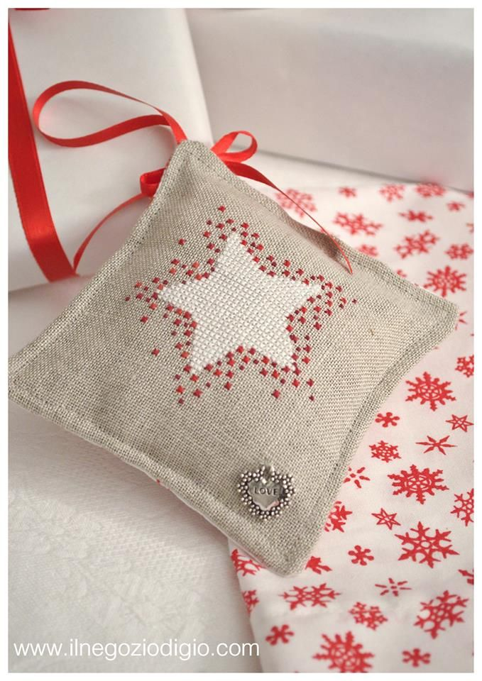 cross stitch here, but could do as embroidery french knots surrounding star