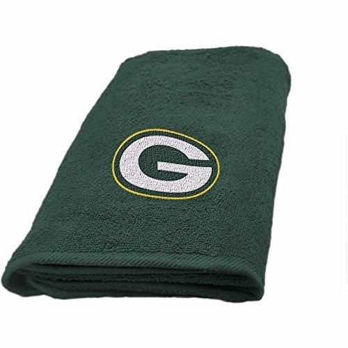 NFL Packers Hand Towel 26 X 15 Football Themed Applique Sports Patterned Team Logo Fan Merchandise Athletic Spirit Gold Dark Green Polyester
