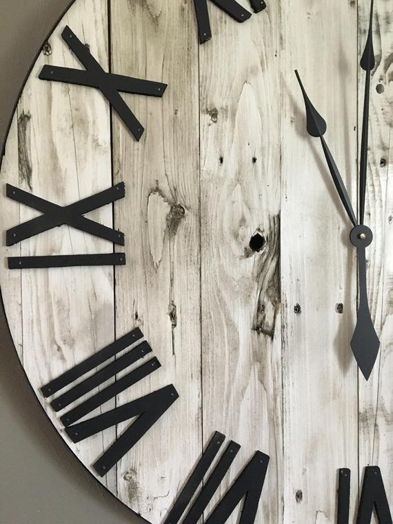 30 Large White Farmhouse Pallet Clock Oversized Wooden ...