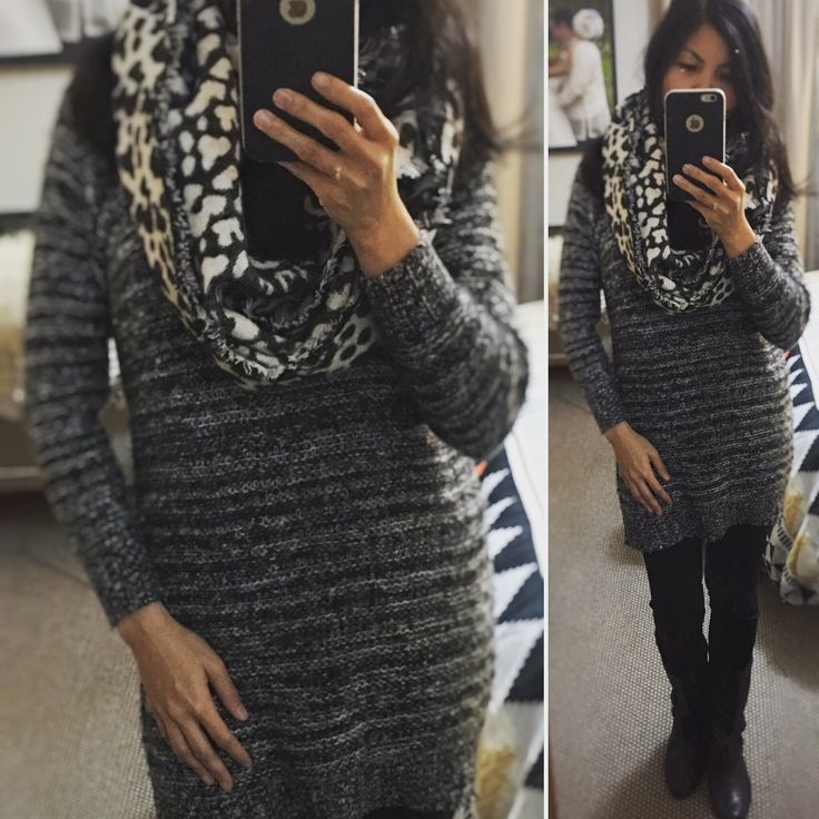 Winter fashion - charcoal dress with infinity scarf, tights and mid-calf boots #winterfashion #ootd
