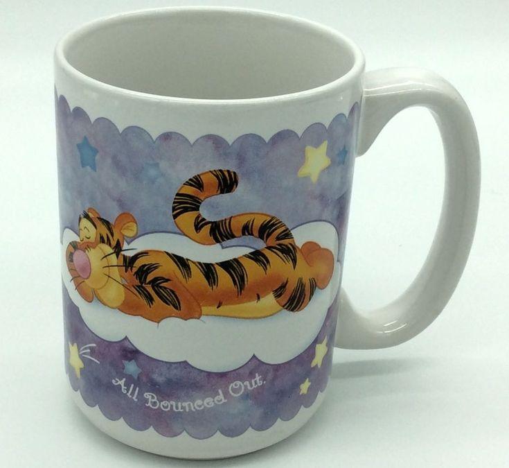 DISNEY Coffee Mug Winnie The Pooh Tigger Dreaming Sleeping Clouds Oversize  #DisneyCoffeeMug #HoustonHarvest #WinnieThePooh #Tigger
