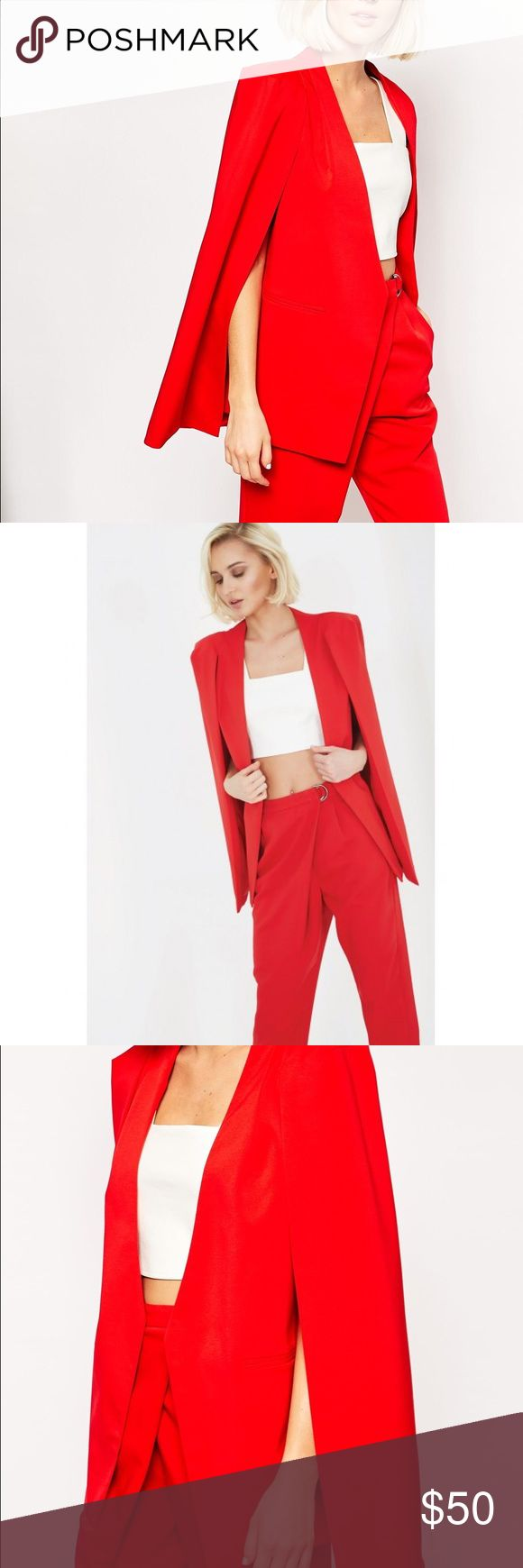 """lavish alice collarless cape blazer """"when in doubt, wear red."""" ~bill blass 