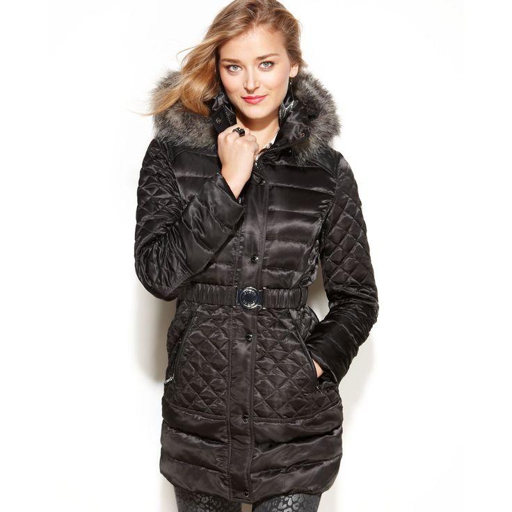 black puffer coat with faux fur trim | Guess Coat, Hooded Faux-Fur-Trim Quilted Puffer in Black
