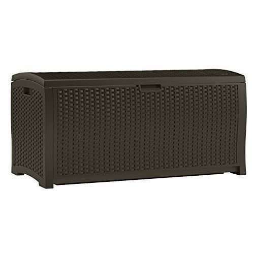 Outdoor Storage Deck Box 99 Gallon Container Wicker Resin Patio Furniture Brown  #Suncast