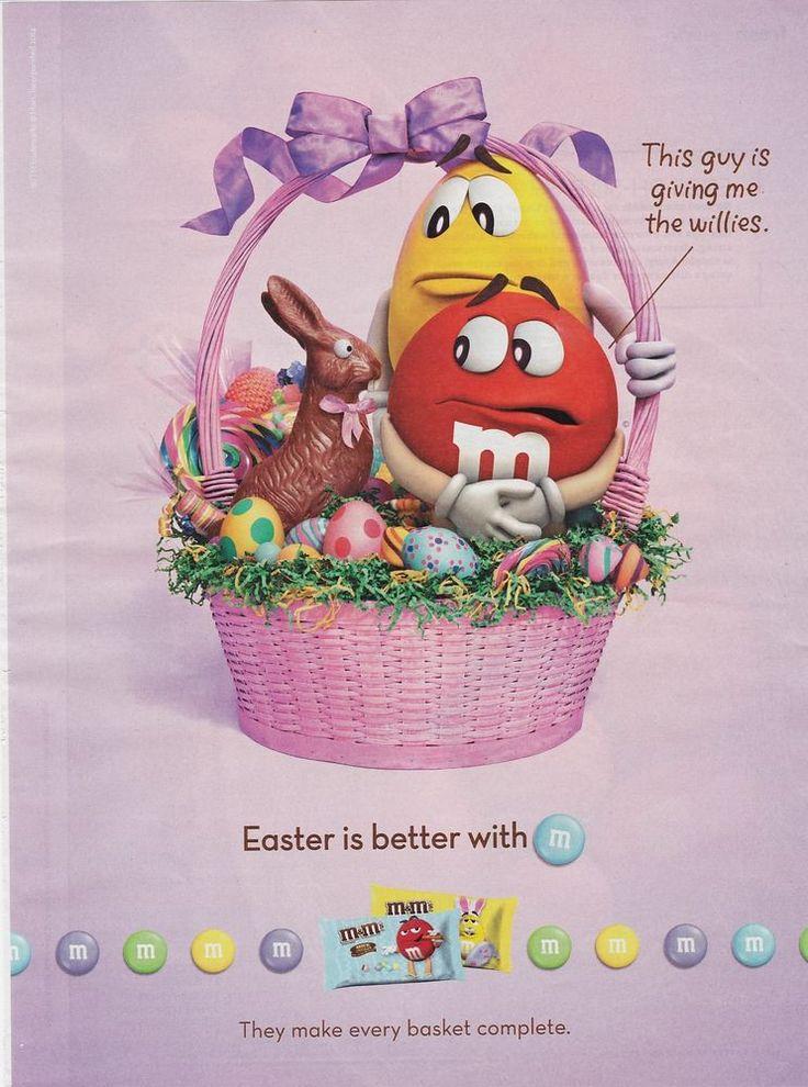 2015 magazine ad M&M's EASTER Basket mms M&M advertisement print yellow red