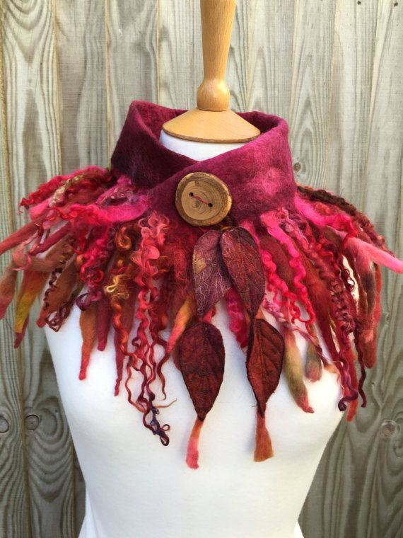 Fire Faerie cowl-Forest cowl scarf-Woodland Felted Cowl