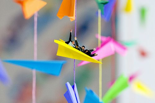 Paper airplane garland with passengers!