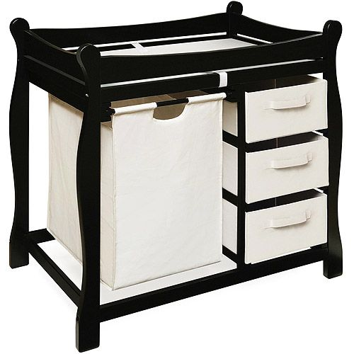 Badger Basket - Changing Table with Hamper and Baskets, Black: Nursery Furniture : Walmart.com