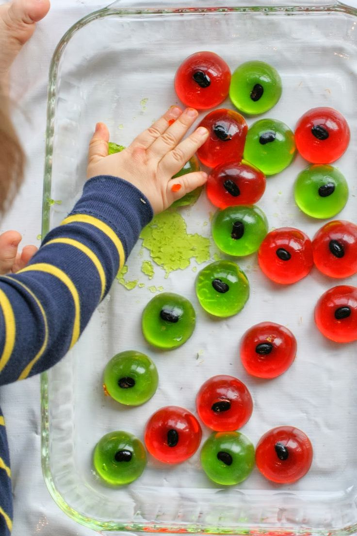 Halloween Sensory Bin for Baby and Toddlers: Edible Eyeballs from Fun at Home with Kids
