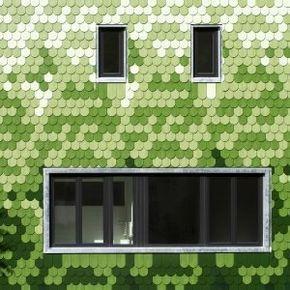 "Green+shingles+cover+""peculiar""+Schuppen+house+by+Brandt+++Simon+Architekten"