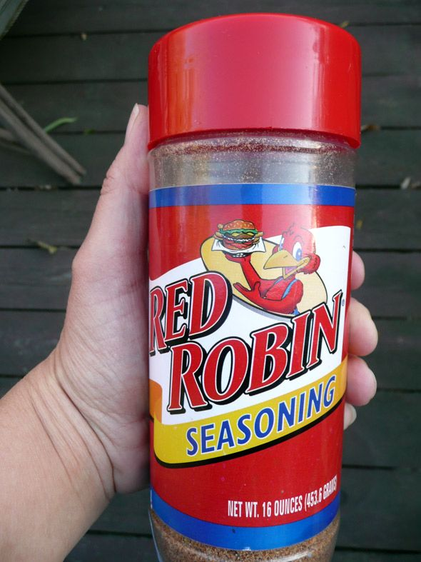 Red Robin Seasoning (Copycat recipe)  3 packages cup-a-soup tomato soup mix (about 7 1/2 T.)  10 T. salt  2 T. chili powder  4 T. granulated garlic  1 T. basil  1 T. cumin  1 t. freshly ground black pepper