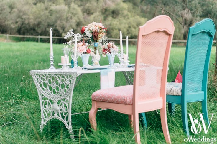 Styled Wedding Shoot/Wedding Ideas Location: Perth Western Australia Tags: Whimsical, Pink-Blue-White, Dreams Mix and Matching is in - why not add some pop of colour to your Bridal table or Ceremony Table!  Styling/Design: oWeddings Photographer: Earthbound Images Hire/Prop: Turtle & the Pelican/Karrie & Pearl Flowers: Floralicious Designs