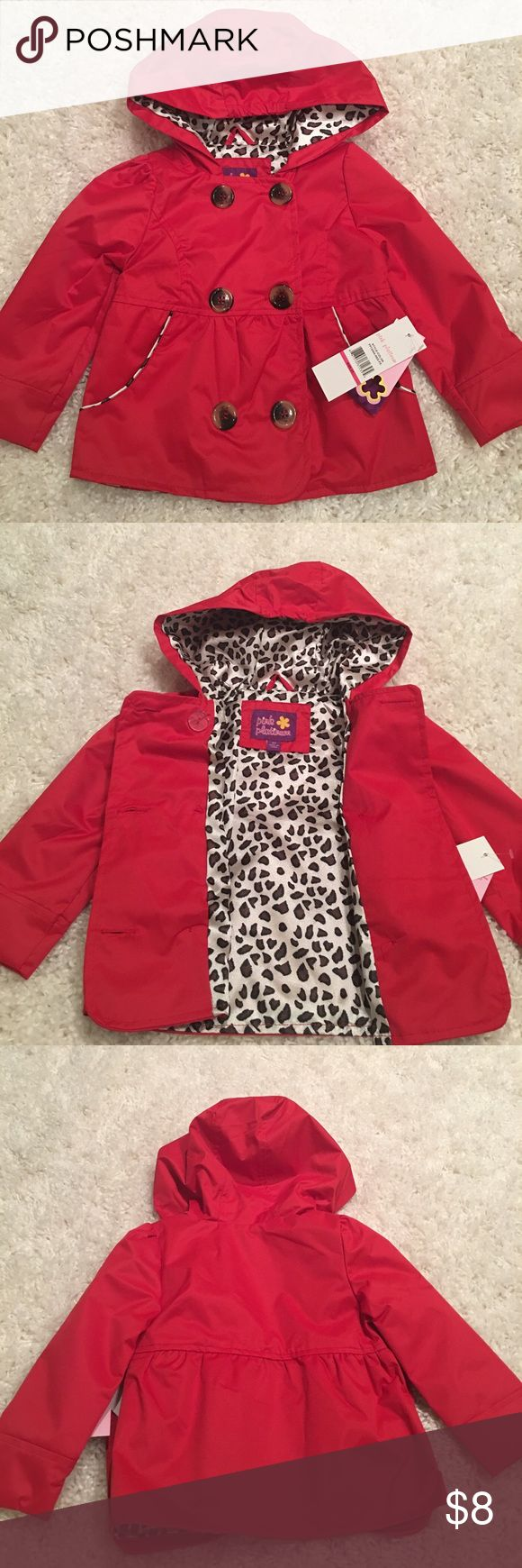 Red stylish rain coat Red, stylish raincoat with hood and animal print lining. Size 2T. Brand new with tags. Pink Platinum Jackets & Coats Raincoats