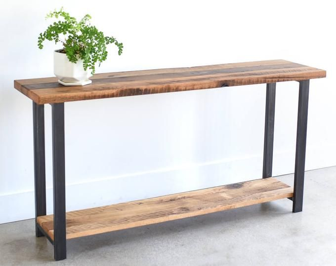 Console Table With Lower Shelf Reclaimed Wood Sofa Table Etsy In 2020 Wood Sofa Table Reclaimed Wood Console Table Wood Console Table