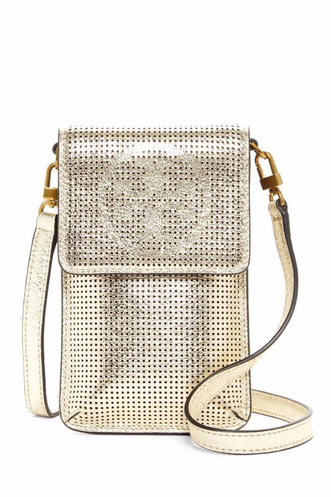 reputable site 2312b 236f3 NWT Tory Burch Phone Crossbody Bag Logo Perforated Metallic Gold ...