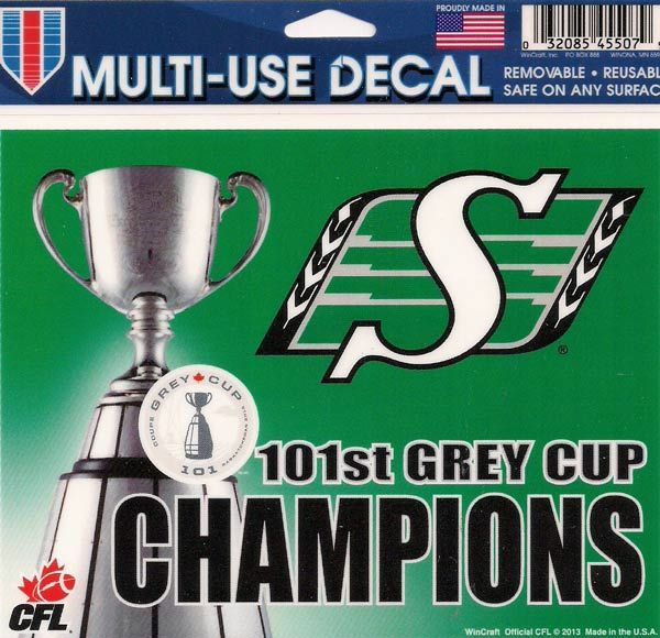 2013 Grey Cup Champs Decal