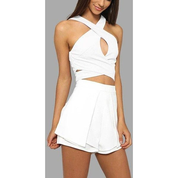 Yoins Sleeveless Cross-chest Top and High Waist Shorts Co-ord (1,075 DOP) ❤ liked on Polyvore featuring white