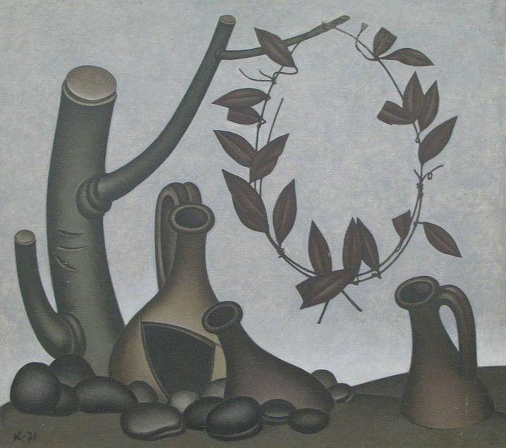 Дмитрий Краснопевцев (1925-1995). Натюрморт с тремя кувшинами. 1976. Холст, масло. 110×68
