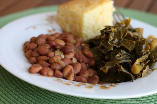 "Beans 'n Greens: Frijoles Borrachos (Drunken Beans) and ""Southern Style"" Vegetarian Collard Greens"