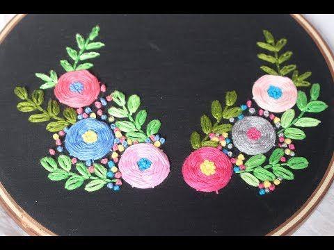 Hand embroidery : Double lazy daisy stitch tutorial |lazy daisy stitch | a bit of style - YouTube