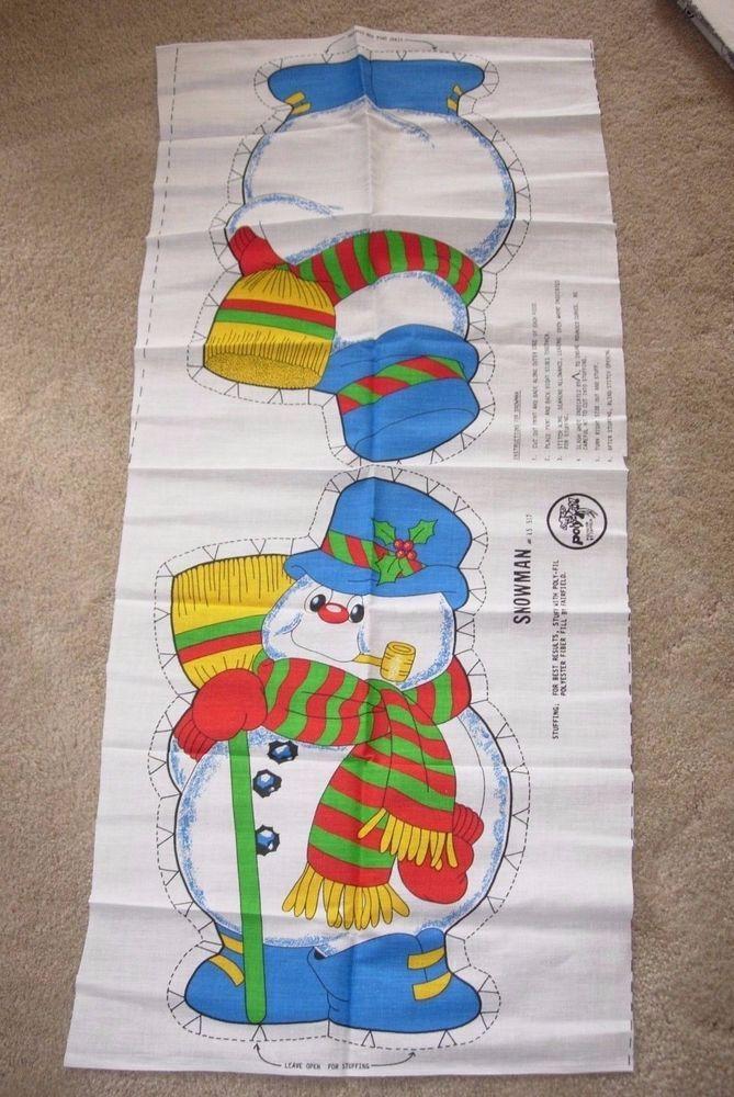Vintage CHRISTMAS SNOWMAN STUFFED Cut & Sew Fabric Panel Poly-Fil PILLOW CRAFTS #PolyFil