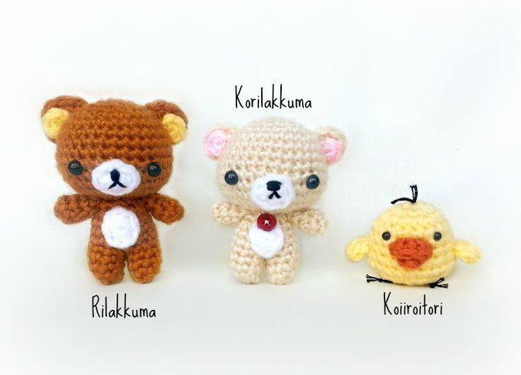 Rilakkuma, Korilakkuma and Kiiroitori.....free patterns