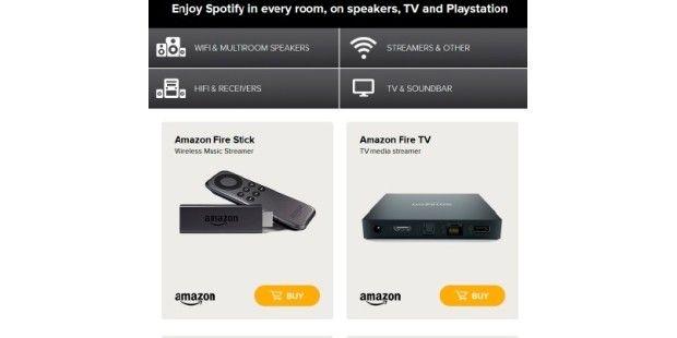 Spotify hat auf seiner Website alle Geräte aufgelistet, die den Musik-Streamingdienst unterstützen. Darunter sind Lautsprecher, TVs, Konsolen, Receiver und andere Streaminggeräte.