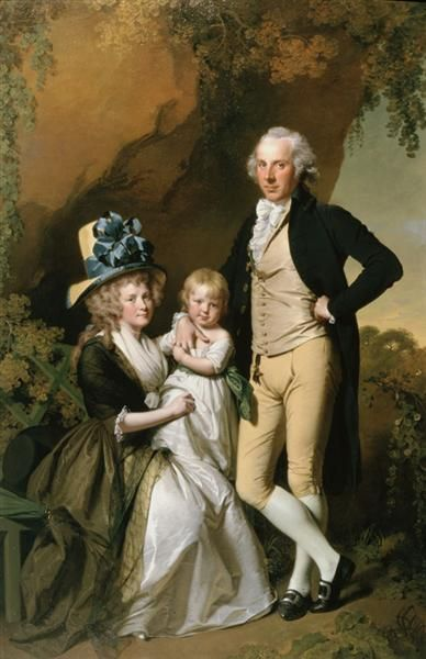 Portrait of Richard Arkwright Junior with his Wife Mary and Daughter Anne, 1790 - Joseph Wright