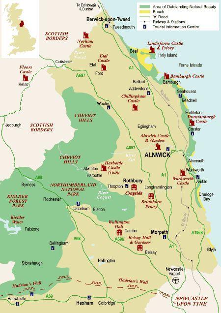 Alnwick Map Of Northumberland Northumberland England